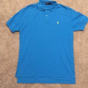 Men's Blue Classic Fit Polo w/ yellow horse